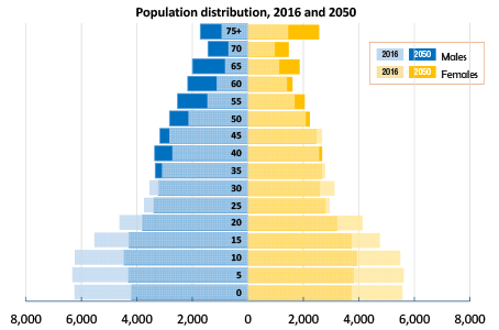 TG Chart population distribution by age and sex - 2016 and 2050